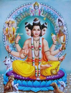 lord dattatherayar - 3 divinity in one Shiva Art, Ganesha Art, Hindu Art, Ganesha Sketch, Kali Shiva, Shiva Shakti, Krishna Hindu, Hindu Deities, Lord Krishna