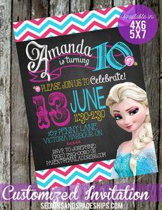 Frozen Invitation Chalkboard Summer Frozen by SequinsandSpaceships, $14.00