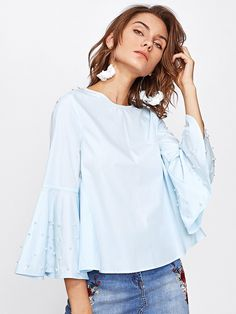 Material: 65% Polyester, 35% Cotton Color: Blue Pattern Type: Plain Collar: Round Neck Style: Casual, Cute Type: Tunic Decoration: Button, Pearl Sleeve Length: Long Sleeve, Bell Sleeve Fabric: Fabric has no stretch Season: Spring, Summer, Fall Shoulder(Cm): XS:38cm, S:39cm, M:40cm, L:41cm Bust(Cm): XS:90cm, S:94cm, M:98cm, L:102cm Waist Size(Cm): XS:97cm, S:101cm, M:105cm, L:109cm Length(Cm): XS:57cm, S:58cm, M:59cm, L:60cm Sleeve Length(Cm): XS:50cm, S:51cm, M:52cm, L:53cm Bicept…