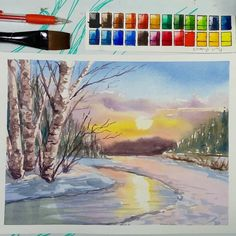 Snowy Winter Sunset - Paint With Me! Watercolor Tips, Watercolour Tutorials, Watercolor Paintings, Watercolors, The Frugal Crafter, Watercolor Birthday Cards, Flower Video, Winter Sunset, Red Paper
