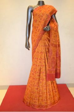 Floral Printed Pure Silk Saree With Fancy Border                 Product Code: AB207090