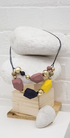 Coloured blocks have gone grown-up with the Navarro Geo Blocks Necklace.