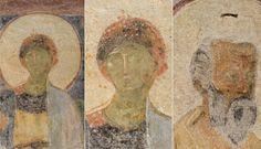 Basilica di Santa Sabina, Roma. Affresco della fine del VII-inizio del VIII secolo. Madonna col bambino, i santi Pietro e Paolo, le sante Sabina e Serafia e i committenti.