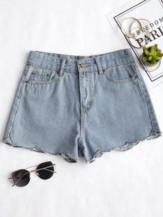 SHARE & Get it FREE | Scalloped Hem Denim Shorts - Denim Blue SFor Fashion Lovers only:80,000+ Items • New Arrivals Daily Join Zaful: Get YOUR $50 NOW!