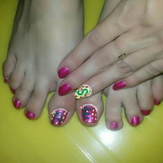 My Boo and I did a bet which I have Lost and for that he did my Nails and my Toes. He tried to do some Nail Art but it was a fail so he ended up drawing our initials. I have to admit that for a guy, he did a great job! Monday Pedi Time: Magenta Toe Nails