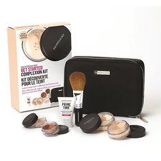 Get Started Complexion Makeup Starter Kit | bareMinerals UK / Collection includes: Prime Time™ Foundation Primer, size 15ml ORIGINAL SPF 15 Foundation in Fairly Light, size 2g MATTE SPF 15 Foundation in Fairly Light, size 1.5g Warmth All-Over Face Color, size 0.57g Mineral Veil® Finishing Powder, size 0.75g Flawless Application Face Brush Keep-sake Makeup Clutch