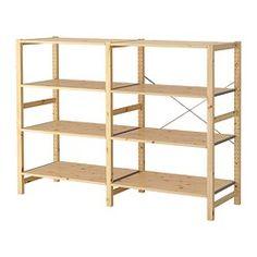 IKEA - IVAR, 2 sektioner/hyllor, Obehandlat massivt trä är ett slitstarkt naturmaterial som blir ännu tåligare och mer lättskött om du oljar eller vaxar ytan.Vill du göra möbeln mer personlig kan du lasera eller måla den i din favoritfärg.Du kan flytta hyllplanen och anpassa avståndet efter behov.