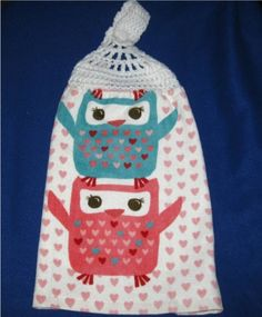 Two Owls Crocheted Top Towel