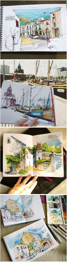 Alena Kudriashova #urban #sketch #travel #journal #watercolor