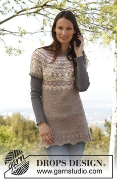 "Free pattern: Knitted DROPS tunic with short sleeves, round yoke and pattern in ""Nepal"". Size: S - XXXL."