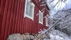 Winter at archipelago. Falu red house. Ekenäs, Finland.