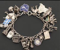 Antique Bracelets, Sterling Silver Charm Bracelet, Silver Charms, Vintage Charm Bracelet, Charm Bracelets, Personalized Bracelets, Personalized Gifts, Silver Gifts, Adjustable Bracelet