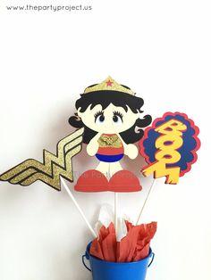 Wonder Woman Centerpiece | Girl Superhero birthday - Baby shower | Nursery decor.