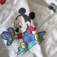 Vintage 1980s Dundee Disney Babies Fitted Crib Sheet Mickey Minnie Pluto Cutter…