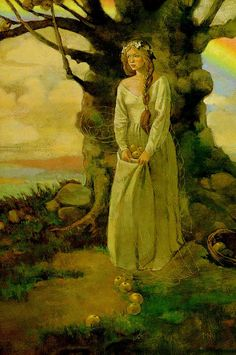 Idun is the wife of Asgard's court poet and minstrel,Bragi.
