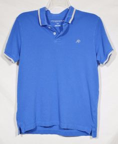 AEROPOSTALE Mens Blue Polo Shirt Large 100% Cotton Short Sleeves Summer #Aropostale #PoloRugby