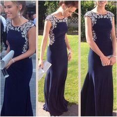 navy prom dress, long prom dress, formal prom dress – BSBRIDAL