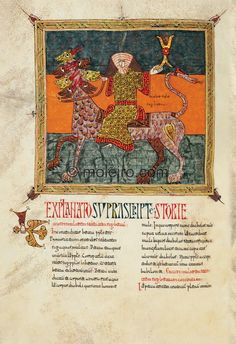 f.  183v, The woman on the beast with seven heads.  The woman on the beast represented in the Beatus of Silos is wearing or ...