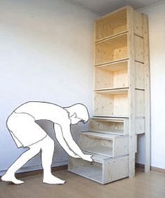 Tall bookshelf, sliding ladder step design. Perfect for those of us who are vertically challenged
