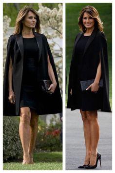First Lady Melania Trump Trump Melania, Melania Knauss Trump, First Lady Melania Trump, Melanie Trump, Milania Trump Style, Standing Poses, Black White Fashion, Western Dresses, Ivanka Trump