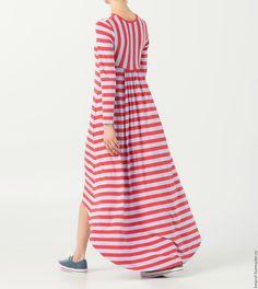 """Купить Платье """"For all Occasions №5"""" - розовый, в полоску, платье в полоску"""