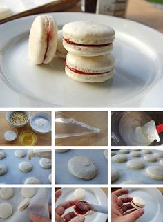 French Macarons Tutorial! (tutorial)    Tips:    you can add food coloring for a splash of pizzazz!   you can use different fillings like nutella or any other of your favorite jams.    http://thecakebar.tumblr.com/post/15220165260/french-macarons-tutorial-tutorial-tips-you