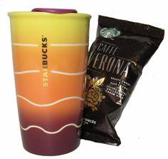 Starbucks Travel Mug and Coffee Bundle GRADIENT SUNSET with Cafe Verona Coffee