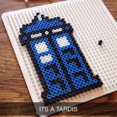 Tardis Doctor Who hama beads by nicotine_kisses_