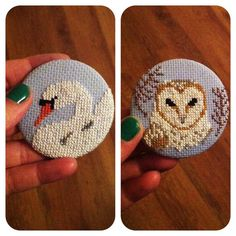 SAMPLE SALE One Cross Stitch Swan Oversized Button by MaMagasin, £7.00