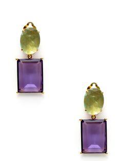 Fluorite & Amethyst Drop Earrings