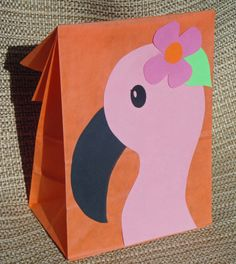 Flamingo Treat Sacks - Tropical LUAU Zoo Beach Theme Birthday Party Goody Bags by jettabees on Etsy
