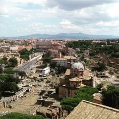 View of Ancient Rome and distant Alban Hills from atop the Vittoriano monument #italogram