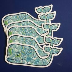 Vineyard Vines Whale Stickers/Decals (set of 5) Blue and green Hawaiian Hibiscus Print Vineyard Vines Other