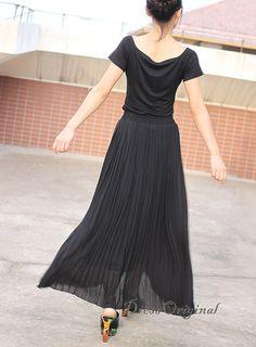 black skirt Pleated skirt  Maxi Skirt black  full by DressOriginal