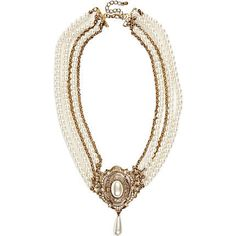 cream pearl and brooch choker necklace - necklaces / collars - jewellery - women - River Island