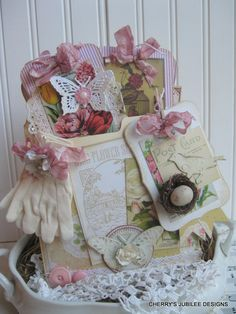 shabby chic garden SEED PACKETS pocket full of tags gift set decoration