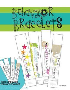 Free behavior bracelets let parents know their child did great!  J'adore cette idée pour la maternelle !