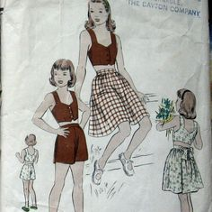 Vogue 2440 Vintage 50s Girls Halter Top Pattern With Skirt And Shorts Sz 8.