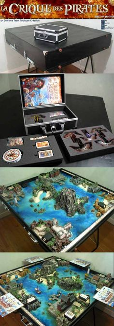 Pirate's Cove - General View of 3-D game diorama board with cases.