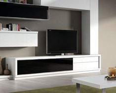 Contemporary 2 Drawer and Glass Door TV Unit by Baixmoduls