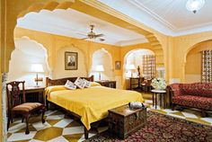 The Deluxe Suite at the Samode Haveli in Jaipur, India. no better way to see India's Golden Triangle than in pure luxury.