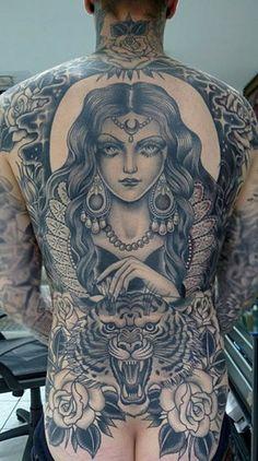 _ gypsy & tiger & roses black & grey full back tattoo _