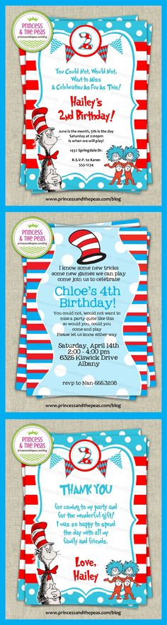 dr. seuss invitations | dr. seuss thank you cards | dr. seuss party ideas | dr. seuss birthday party  http://www.princessandthepeas.com/blog  #drseussparty #drseussbirthdayparty #drseussinvitations
