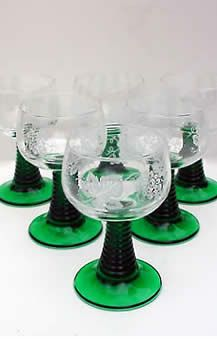 Vintage red waterford wine glasses light