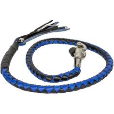 Biker whip getback motorcycle BLACK Grey leather /& Blue Paracord By Stitch