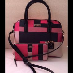 """Kate Spade Satchel and Wallet Set NWT Authentic Kate Spade & Matching Wallet. Small Rachelle, Clrblkprty. Black/Pink/Lt. Pink/Navy. Gold-Tone Hardware. 2 inside slip pockets, 1 inside zipper pocket. 12"""" x 9 1/4"""" ,.... Wallet multiple card slots, 2 bill slots, 3 additional compartments, 1 inside zipper pocket. Zip around closure. 7 1/2"""" x 4 1/4"""" NWT kate spade Bags"""