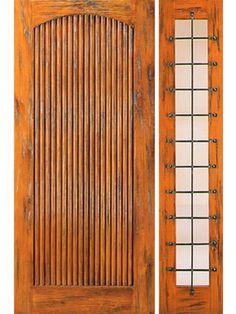 Exterior Door with One Sidelite Prehung Door with One Sidelite, Exterior, Knotty Alder Tambour [43 by AAW
