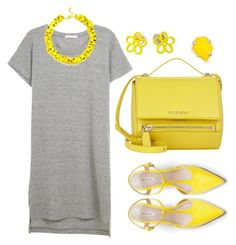 """""""Gray & Yellow"""" by cherieaustin ❤ liked on Polyvore featuring Zara, Givenchy, Slate & Willow, Kendra Scott and Marc by Marc Jacobs"""