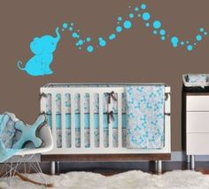 Baby elephant and bubbles wall decal, in various colors.