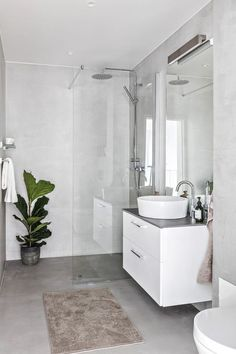 Dreaming of an extravagance or designer master bathroom? We've gathered together lots of gorgeous bathroom a few ideas for small or large budgets, including baths, showers, sinks and basins, plus master bathroom decor suggestions. White Bathroom, Small Bathroom, Bathroom Ideas, Bathroom Organization, Minimal Bathroom, Marble Bathrooms, Master Bathrooms, Bathroom Mirrors, Bathroom Storage